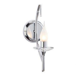 srebrny kinkiet świecznikowy w połysku do sypialni