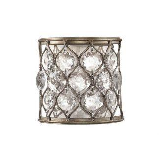 srebrny kinkiet wypełniony kryształkami