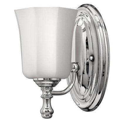 srebrny kinkiet z białym kloszem do łazienki