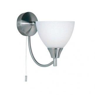 srebrny kinkiet z kloszem na wyłącznik sznurkowy