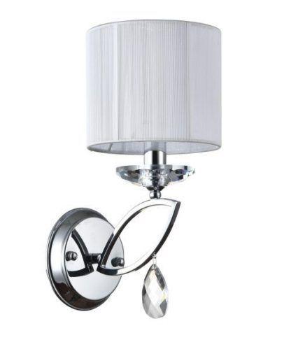 srebrny kinkiet z kryształkiem biały abażur