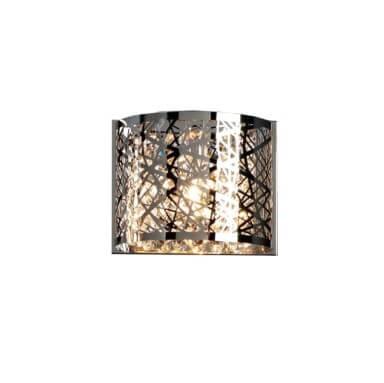 Srebrny kinkiet z kryształowymi elementami do sypialni