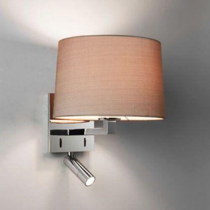 srebrny kinkiet z lampką do czytania - abażur