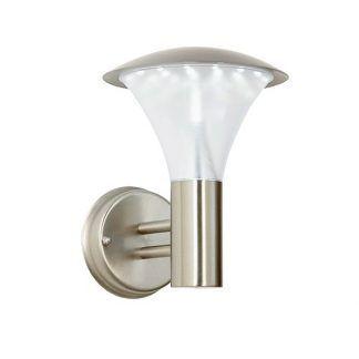 srebrny kinkiet z mlecznym kloszem do oświetlenia elewacji