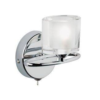 srebrny kinkiet z owalnym kloszem ze szkła
