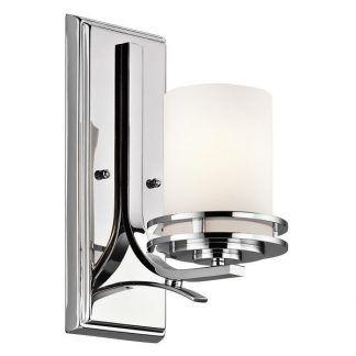 Srebrny kinkiet ze kloszem świecą do łazienki