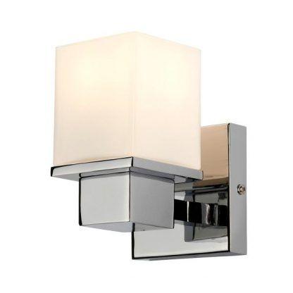 srebrny kinkiet ze szklanym kloszem kwadratowym - do łazienki