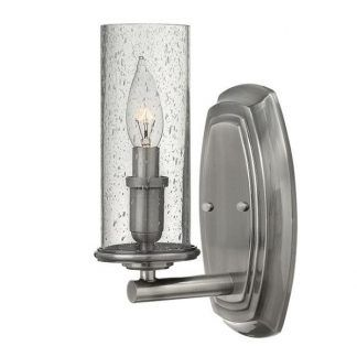 srebrny kinkiet ze szklanym kloszem świecznik