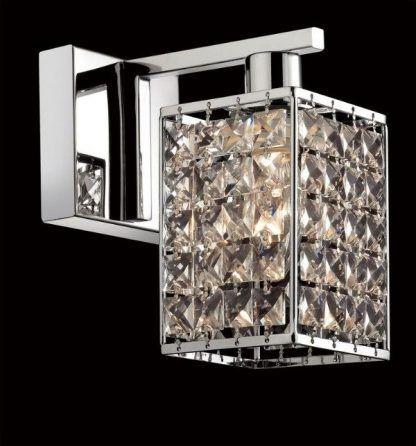 Srebrny kinkiet ze szklanym kloszem z kryształkami