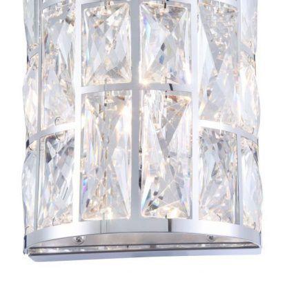 srebrny kryształowy kinkiet do sypialni glamour