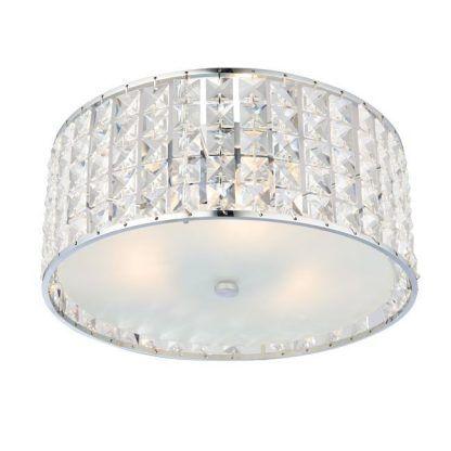 srebrny kryształowy plafon okrągły