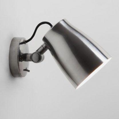 srebrny lampa ścienna z kloszem jak reflektor - regulowana