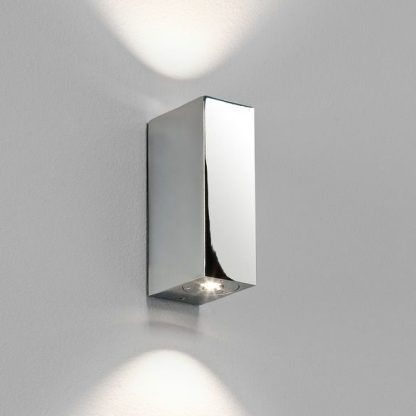 srebrny ledowy kinkiet prostokątny do łazienki - delikatny