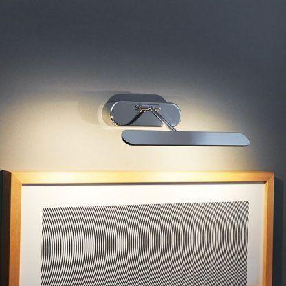 srebrny nowoczesny kinkiet oświetlenie obrazów