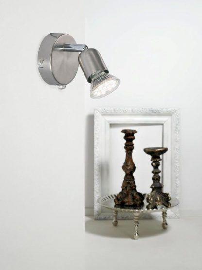 srebrny nowoczesny kinkiet reflektor