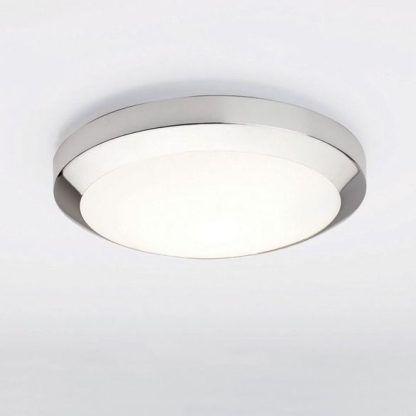 srebrny plafon z białą kopułą do łazienki - krągły