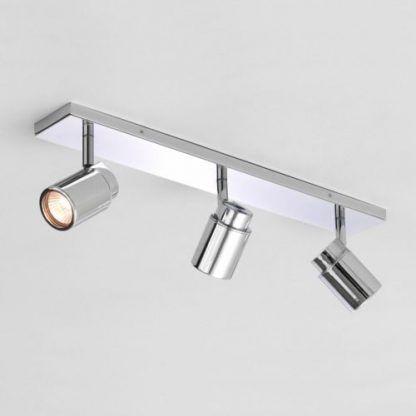 srebrny reflektor z 3 żarówkami szynowa lampa sufitowa