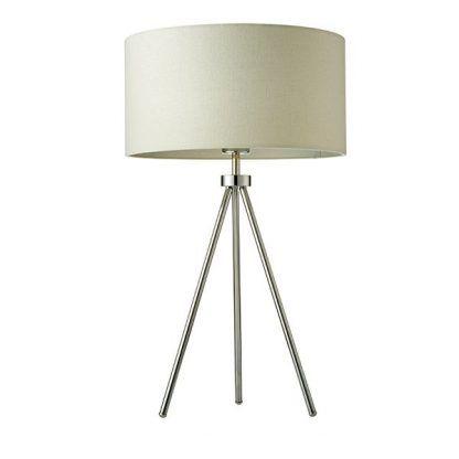 srebrny trójnóg stołowy z jasnym abażurem salon