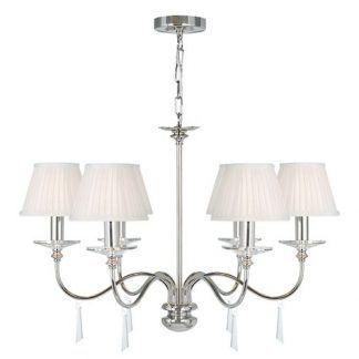 srebrny żyrandol 6 ramienny z abażurami świecznikowymi do salonu