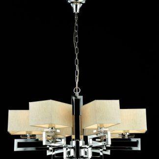 srebrny żyrandol do salonu regulowana wysokość