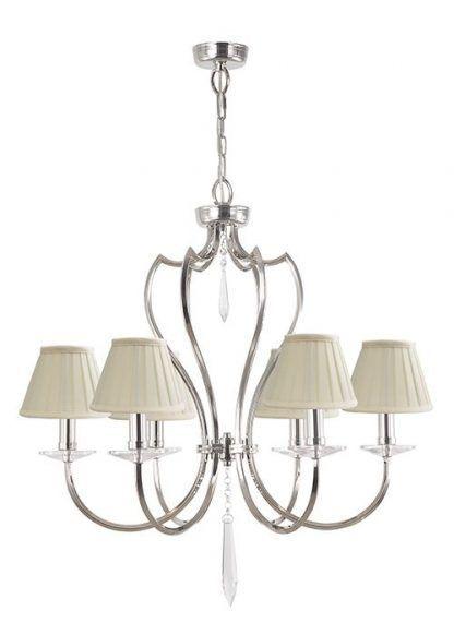 srebrny żyrandol - świeczniki i abażury do salonu