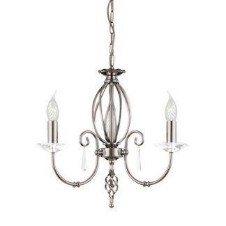 srebrny żyrandol świecznikowy na 2 żarówki do pokoju