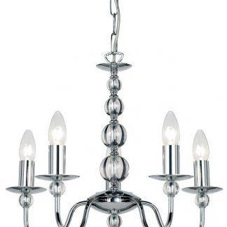 srebrny żyrandol świecznikowy na 5 żarówek