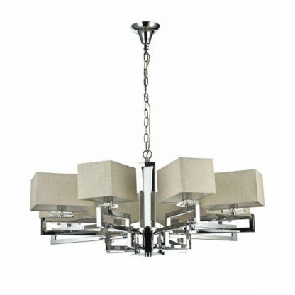 srebrny żyrandol z beżowymi abażurami do salonu