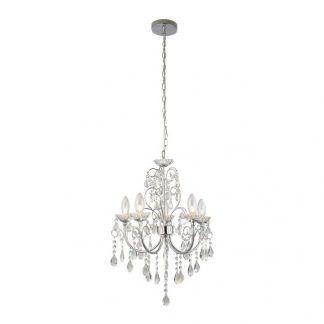srebrny żyrandol z kryształkami styl glamour