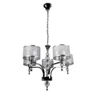 Srebrny żyrandol z pięcioma zdobionymi kloszami salon
