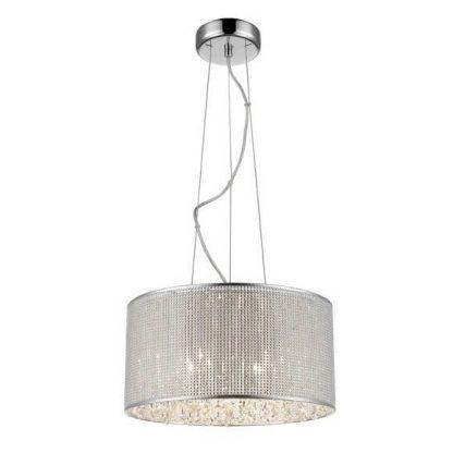 srerbrna lampa wisząca na linkach - kryształki w kloszu