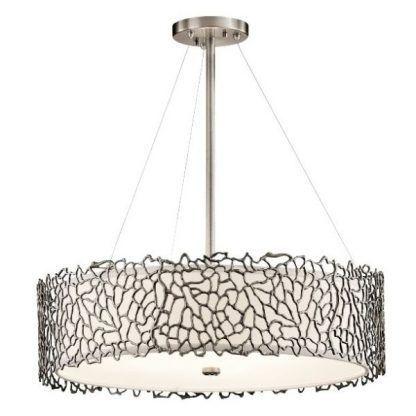 stalowa lampa na linkach - srebrna z abażurem