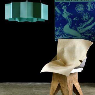 stalowa lampa wisząca błękitny klosz nowoczesna