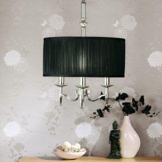 stanford srebrna lampa z czarnym abażurem salon