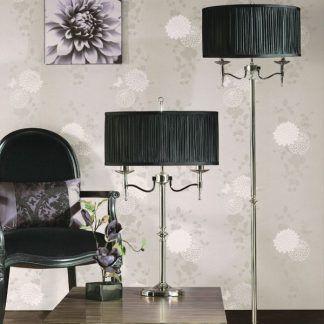stanford srebrne lampy z czarnym abażurem salon