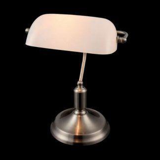 stojąca lampa klasyczna - stalowa starodawna biurowa