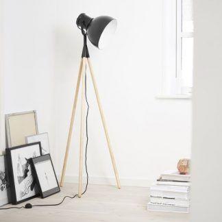 stojąca lampa podłogowa z drewnianymi nogami - szary klosz