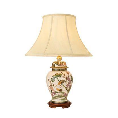 storks beżowa lampa stołowa z abażurem kwiaty