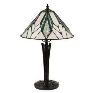 stylowa lampa stołowa z witrażowym kloszem