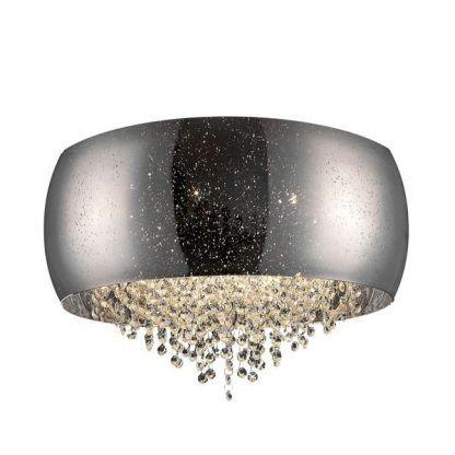 sufitowa lampa srebrno-szara ze szkła - kryształ