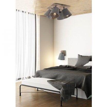 sypialnia vintage szare oświetlenie aranżacja