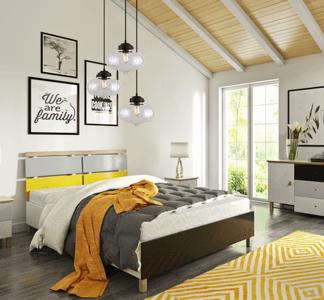 sypialnia w skandynawskim stylu oświetlenie