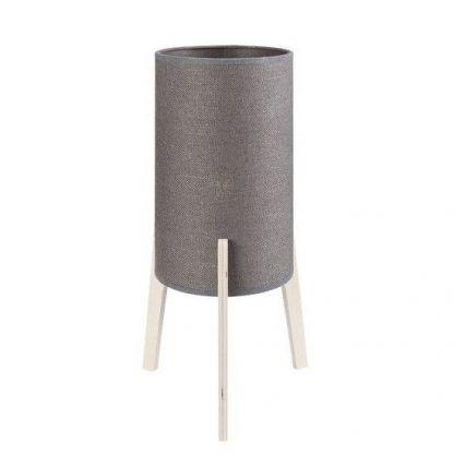 szara lampa stołowa na drewnianych nóżkach