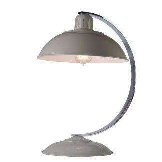 Szara lampa stołowa z dużym okrągłym kloszem