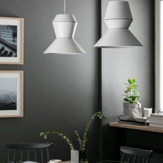 szara lampa wisząca aranżacja jadalnia skandynawska