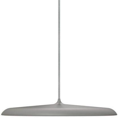 szara lampa wisząca LED płaski klosz matowa