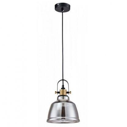 szara lampa wisząca szklany klosz industrialna
