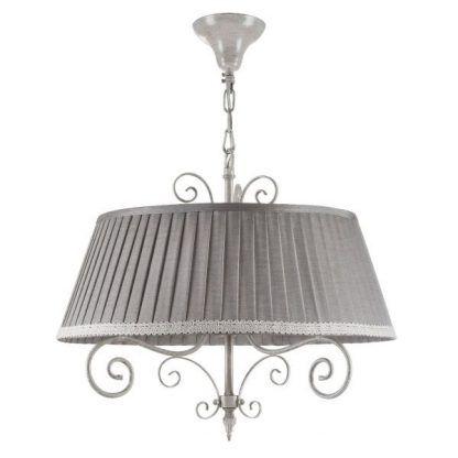 szara lampa wisząca z plisowanym abażurem