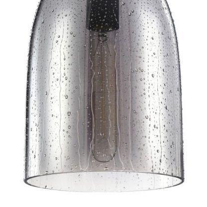 szara lampa wisząca ze szkła skandynawski salon