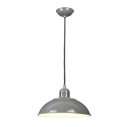 Szara metalowa lampa z okrągłym kloszem salon